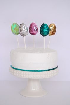 DIY Sequin Easter Egg Cake Toppers