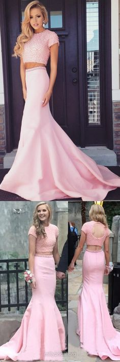 Pink Prom Dresses,Two Piece Prom Dresses Long,Trumpet/Mermaid Formal Dresses Scoop Neck, Satin Evening Dresses with Pearl Detailing #pinkdresses #twopiece