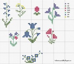 Tiny cross stitch flowers along with a tutorial for a scissors case.