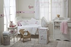 Baby Nursery, Modern Long Baby Room Curtain Idea Plus Cute Wicker Chair  Design Feat Fluffy