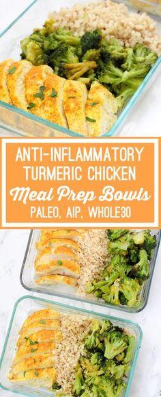 Anti-inflammatory Turmeric Chicken Meal Prep Bowls