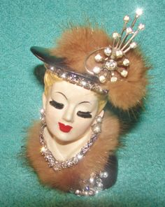 OOAK JEWELED VINTAGE LADY HEAD VASE DOLL SWAROVSKI RHINESTONES