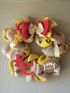 Kansas city chiefs burlap wreath or change the colors for a KC Royals wreath!