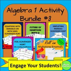 This is a collection of 5 great activities that can be used in an 8th grade or algebra 1 classroom.  Excite and engage your students with these fun activities!  At this price, it's like getting one of the products free!Products included are:1)  Systems of Equations BINGO:Students have fun solving systems of equations while playing Bingo!