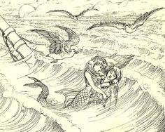 """""""The little mermaid"""" vintage illustration by Laura Trowbridge, 1898"""