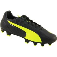Puma Evo Speed 4.4 FG Outdoor Soccer Cleats - Mens Black Yellow Botas d8ab7df0a5f60