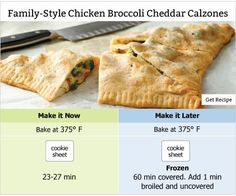 Make-Ahead Meals: Family-Style Chicken Broccoli Cheddar Calzones