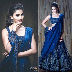 A Great Makeup Idea For Navy Blue Dresses (Lehenga/Sarees) Indian Bridal Lehenga, Indian Bridal Outfits, Indian Fashion Dresses, Dress Indian Style, Ethnic Fashion, Indian Wear, Lehnga Dress, Lehenga Blouse, Bridal Lehenga Collection