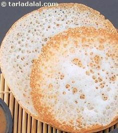 Appam is a famous dish from the Keralite repertoire of South Indian cooking. This recipe is an easy-to-make, instant version of the otherwise tough-to-make dish. Since yeast is used, the batter need not be fermented for long. Indian Snacks, Indian Food Recipes, Vegetarian Recipes, Cooking Recipes, Roast Recipes, Snack Recipes, Crepes, Appam Recipe, Dosa Recipe