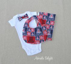 University of Arizona Baby Gift Set (Bowtie Onesie, Bib, and Burp Cloth) Adorable Delights on Etsy $32