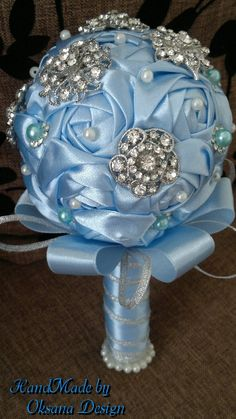 SMALL Blue Brooch Bouquet / FULL price by ToujourGlamour on Etsy
