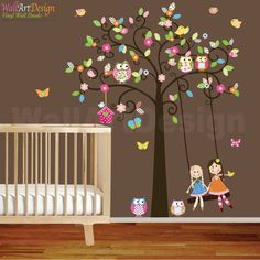 Vinyl Wall Decal Stickers Swirl Swing Tree Set with flowers,dolls,owls and birds Nursery Girls Baby via Etsy