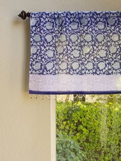 Blue Beaded WINDOW VALANCE CURTAINS TREATMENTS: Dress Up Your Living Room,  Bedroom, Kitchen