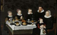 Anonymous | Family Portrait, Anonymous, 1627 | Familieportret van een echtpaar met vier kinderen gezeten aan een gedekte tafel. Op tafel staan borden met brood, gebraden gevogelte, een wijnkan en een zoutvat. De twee dochters links hebben hun handen in gebed gevouwen. Rechts zit het jongste kind met een tak met kersen in de hand bij de moeder op schoot. De achterwand wordt in beslag genomen door een wijnrank die door het venster links naar binnen groeit.