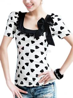 Lady's Heart Printed Contrast Color Bowtie Decorated Short Puff Sleeve  Square Neckline T-Shirt on