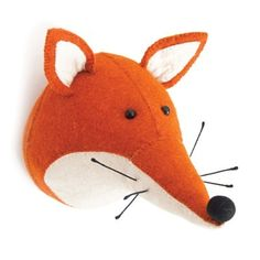 Fiona Walker England Felt Animal Heads are sure to make people smile. An adorable, cute and beautiful Wall Mounted animal head which will suit adults and children. This quirky, soft plush animal head will make a fun and modern statement on any wall Animal Head Decor, Animal Heads, Fox Animal, Plush Animals, Felt Animals, Baby Animals, Fiona Walker, Felt Fox, Wool Felt