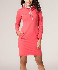 Look at this #zulilyfind! Coral Pocket Sweatshirt Shift Dress #zulilyfinds