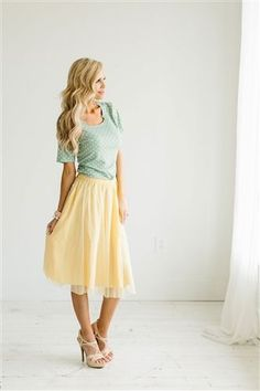 Our beautifully elegant Tulle Garden Skirt is romantic and reminiscent of times past while meshing seamlessly with today's fashion. It is fully lined with an elastic waist and has a tulle overlay. #womensfashionskirts Cute Fashion, Modest Fashion, Skirt Fashion, Fashion Outfits, Fashion Clothes, Fasion, Women's Fashion, Modest Skirts, Modest Outfits
