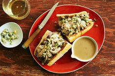 This is a play on a French dip sandwich. Shredded turkey stands in for the usual beef, while gravy, thinned out to make it brothlike, replaces the jus for dipping. To this, add the requisite leftover stuffing, and fold the cranberry sauce into a fragrant and creamy aioli. (Photo: Melina Hammer for The New York Times)