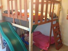 It Is Recycled From A Outdoor Play House Swingset And An Old Metal Bunk Bed Sleeps Has Climbing Wall Ladder Slide