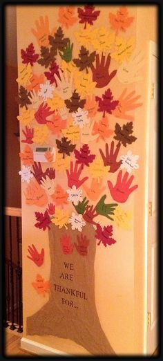 "Our ""Thanksliving"" Tree ""Each day is God's gift to you. What you do with it is your gift to Him""--T.D. Jakes We Are Thankful For... A tree trunk and our traced hands for the leaves, with our thankfulness of the day. (Four kids, plus mommy and daddy, equals A LOT of hands, so I had to cheat and buy some foam leaves from a craft store.)"