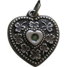 Walter Lampl Green Paste Sterling Heart Charm