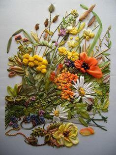 broderie au ruban, bouquet de fleurs et d'herbes