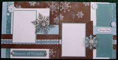 Here you can see how the Snowflakes are stamped in White Daisy Pigment Ink to create the background paper of choice.  Love this and these layouts.  Where's the snow?  I can't wait to use them!