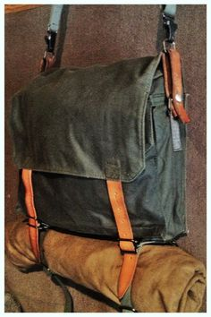"""Wynnchester """"Recon"""" reconditioned Yugoslavian military haversack in waxed canvas"""