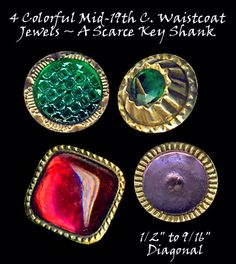 19th C. Waistcoat Jewel Buttons ~ R C Larner Buttons at eBay  http://stores.ebay.com/RC-LARNER-BUTTONS