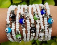 Beaded bracelet - stretch bracelet - Colourful Summer Bracelets - seedbeed and metal - friendship bracelets - boho chic - charm bracelet Evil Eye Bracelet, Heart Bracelet, Bracelet Set, Long Distance Relationship Bracelets, Stretch Bracelets, Beaded Bracelets, Matching Couple Bracelets, Summer Bracelets, Eye Jewelry