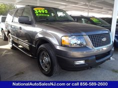 Model: 2003 Ford Expedition  Price: $11,995   COLOR    Dark Shadow Grey Metallic /Flint Grey    MILES    70,560    Engine    5.4 8    Trans    4-Speed A/T    Stock #    S035016    VIN    1FMPU16L23LC15016        If Interested call National Auto Sales today (856) 589-2600 Ask for Bill