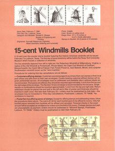 #8003 15c Windmills Stamp Booklet Stamps - Scott #1742a USPS Souvenir Page | eBay