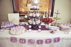 Purple damask and owl baby shower for a girl