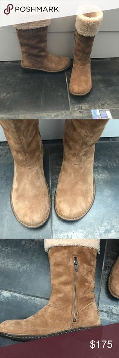 "UGG ""Karyn"" Mid Calf Boots Purchased and worn once. NO TRADES thank you! WATER RESISTANT SILKEE SUEDE SOFT SHEEPSKIN CUFF ADDS STYLE AND WARMTH SUEDE COVERED PORON FOOTBED THREE QUARTER MEDIAL ZIPPER FOR EASY ON AND OFF CUTE HAND WOVEN  BRAID DETAIL UP THE BACK  SHAFT HEIGHT 11.50 INCHES HEEL HEIGHT 1.50 INCHES UGG Shoes Winter & Rain Boots"