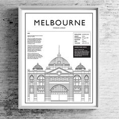 Melbourne 01 | TRAVEL ART PRINT | A5/A4/A3  #Melbourne #flindersstreetstation #flindersstreet #travelprints #prints #blackandwhite #architecture #architectureprints #typography #graphicdesign #interiordesign #bigcartel #etsy #estyseller #etsyau