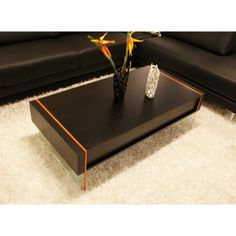 Modern Wenge Floating Coffee Table With Drawer Stone.