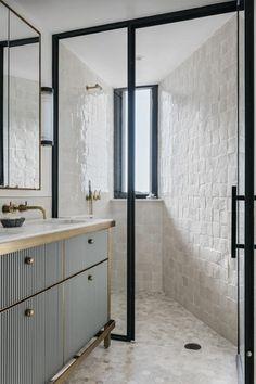 Home Decor Videos Gold taps are officially biggest interior trend - Vogue Australia.Home Decor Videos Gold taps are officially biggest interior trend - Vogue Australia White Bathroom, Modern Bathroom, Small Bathroom, Master Bathroom, Bathroom Ideas, Bathroom Inspo, Modern Shower, Washroom, Shower Ideas