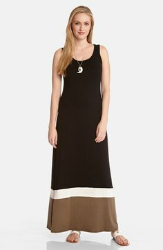 Karen Kane Contrast Tank Maxi Dress | Nordstrom Women's Fashion #Nordstrom #Karen_Kane #Summer_2014  #Black #White #Khaki #Maxi_Dress #Fashion