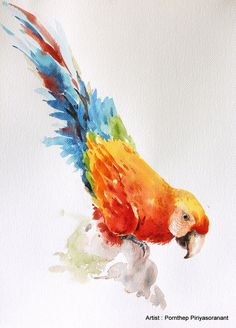 Hey, I found this really awesome Etsy listing at https://www.etsy.com/listing/230325580/parrot-bird-watercolor-painting-bird-art