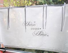 Gardine SHABBY Chic *HOME sweet HOME* mit Bänder von The White Suite auf DaWanda.com