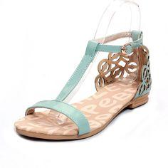 T Strap Blue PU Sandals