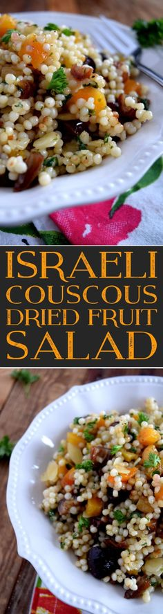 A deliciously slightly sweet couscous salad loaded with bites of chewy apricots, dates, and figs, and a bit of crunch from the sliced almonds. Lightly flavoured with lemon juice and olive oil, this easy-to-prepare Israeli Couscous Dried Fruit Salad is… Best Salad Recipes, Side Dish Recipes, Healthy Recipes, Nut Recipes, Side Dishes Easy, Vegetable Side Dishes, Vegetarian Recipes Dinner, Dinner Recipes, Healthy Salads