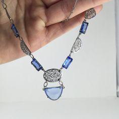 Czech Glass Art Deco Necklace Blue Glass Lavalier by ravished