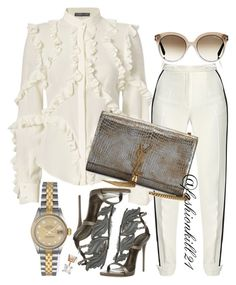 Untitled #1385 by fashionkill21 on Polyvore featuring polyvore fashion style Alexander McQueen Elie Saab Giuseppe Zanotti Yves Saint Laurent Rolex Allurez Tom Ford clothing
