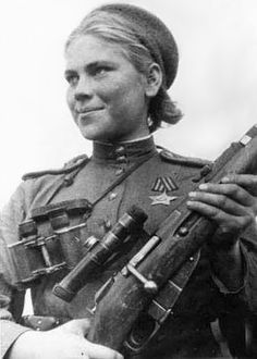 Roza Georgiyevna Shanina; 3 April 1924 – 28 January 1945 was a Soviet sniper during World War II, credited with fifty-nine confirmed kills, including twelve soldiers during the Battle of Vilnius. (Here in 1944, holding a 1891/30 Mosin–Nagant with the 3.5x PU scope.)