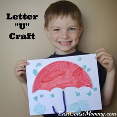 Alphabet Series - Letter U - Paper Plate Umbrella... with free printable printing practice