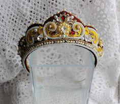 Купить Диадема A la russ №4 - бордовый, кокошник, свадебный кокошник, аля рус