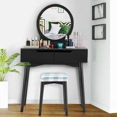 Shop online for Costway Vanity Table Set with Round Mirror 2 Large Sliding Drawers Makeup Dressing Table with Cushioned Padded Stool, Vanity Set With Mirror, Vanity Table Set, Makeup Dressing Table, Round Mirrors, Dressing Table Vanity, Room Colors, Cushioned, Vanity Set