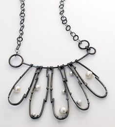 """Black Peteal Necklace...""   Silver & Pearl Necklace   by Sydney Lynch   $ 580"